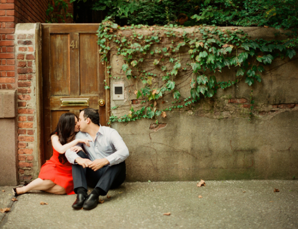 Couple Kissing in West Village NYC