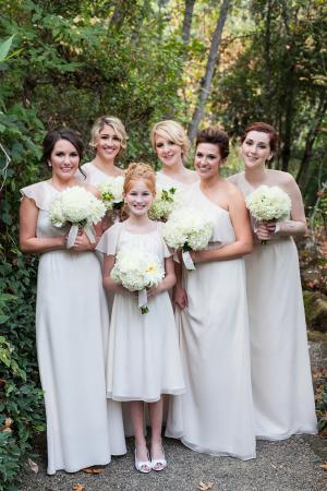 Cream One Shoulder Bridesmaids Dresses