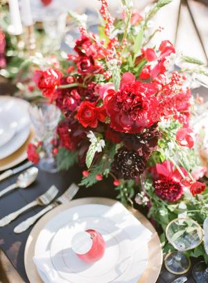 Crimson Wedding Flowers