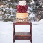 Crimson and Gold Modern Wedding Cake