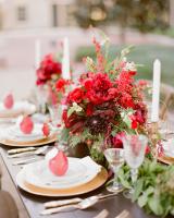 Crimson and Gold Wedding Centerpiece