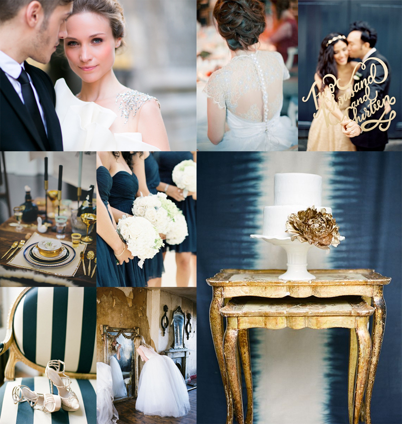 Dark Prussian Blue and Gold Wedding Colors