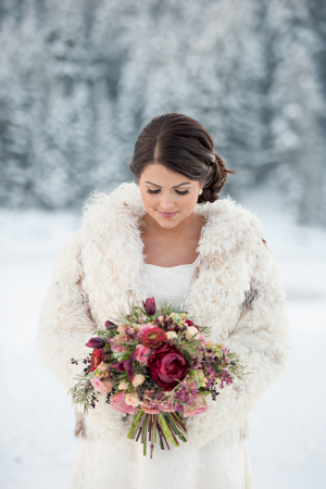 Deep Red and Green Winter Bouquet