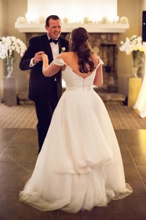 Deep V Lace Back Bridal Gown