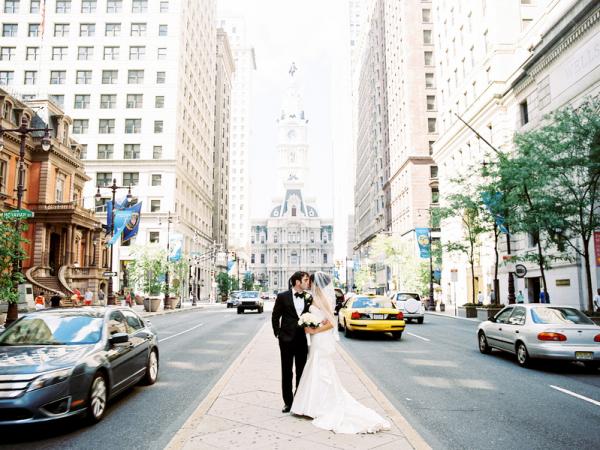 Downtown Philadelphia Wedding Portrait
