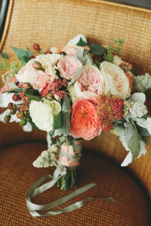 Dusty Miller and Peony Bouquet