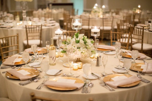 Elegant Gold and Cream Reception Table