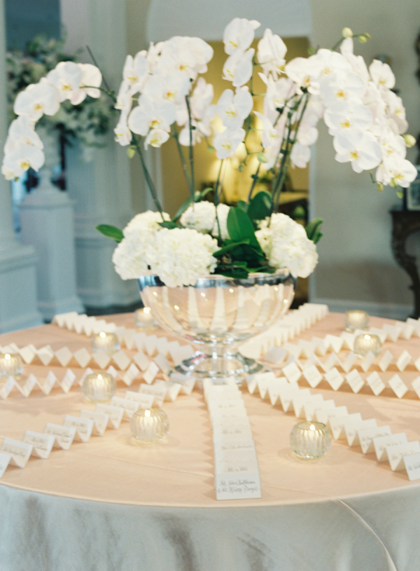 Escort Card Table with Orchids