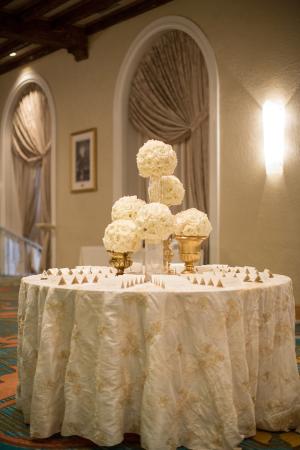 Floral Kissing Balls on Pedestals