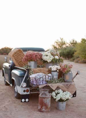Flowers in Galvanized Buckets