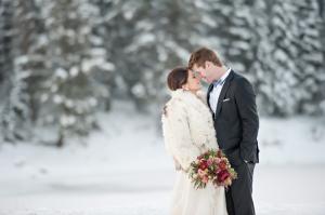 Fur Coat Over Bridal Gown Winter Wedding Inspiration