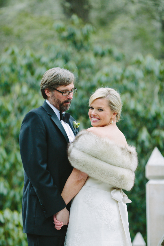 Fur Shrug Over Bridal Gown