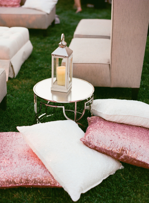 Glitter Pink Pillows Wedding Lounge