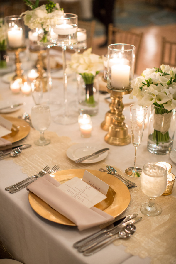 Gold Chargers Reception Decor
