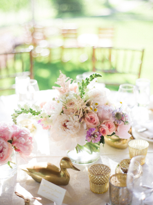 Gold and Pink Spring Centerpiece