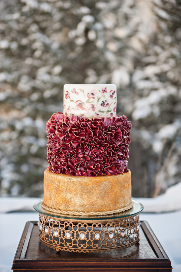 Gold and Ruby Wedding Cake