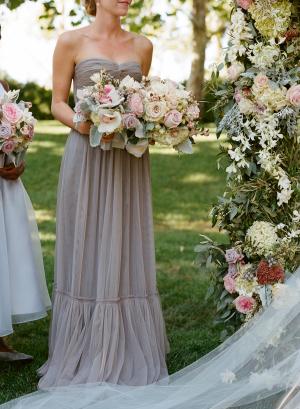 Gray Chiffon Strapless Bridesmaids Dress