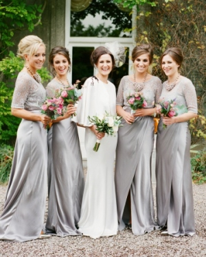 Gray Overlay Bridesmaids Gowns