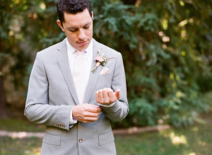 Gray and Pink Grooms Suit