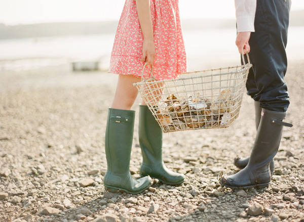 Green and Gray Hunter Rain Boots