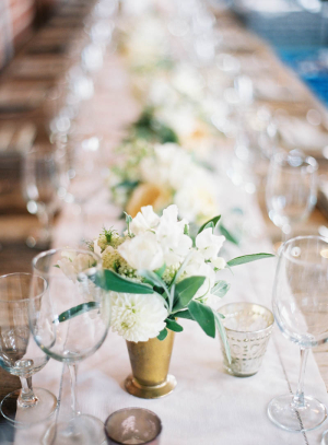 Ivory Flowers in Gold Julep Cups