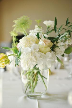 Ivory Hydrangea Rose Centerpiece