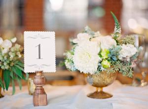 Ivory and Bronze Wedding Centerpiece