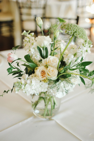 Ivory and Green Centerpieces