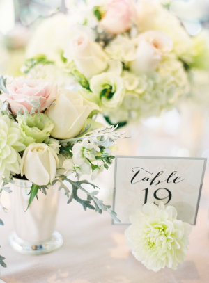 Ivory and Pale Pink Centerpiece