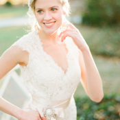 Lace Bridal Gown With Ribbon Sash