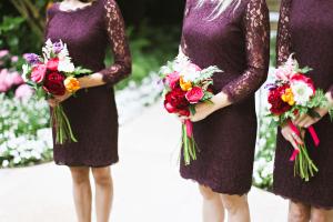 Lace Purple Bridesmaids Dresses