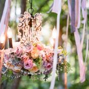 Lavender and Pink Florals on Chandelier