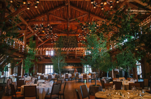 Lodge Wedding with Trees Inside