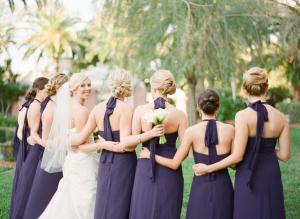 Long Eggplant Colored Bridesmaids Dresses