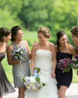 Mismatched Silver Bridesmaids Dresses