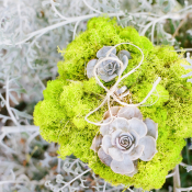 Moss and Succulent Ring Bearer Pillow