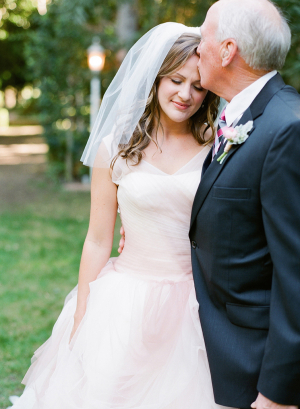 Pale Pink Tulle Bridal Gown