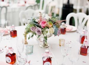 Pastel Flowers in Mercury Glass