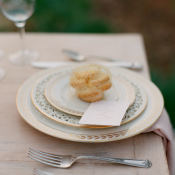 Patterned China on Rustic Table