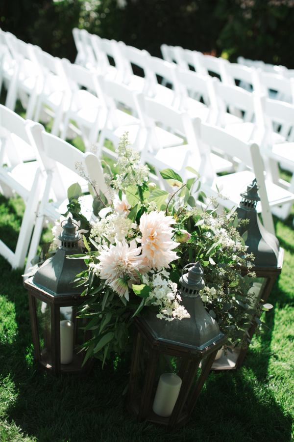 Peach Dahlia Aisle Decor