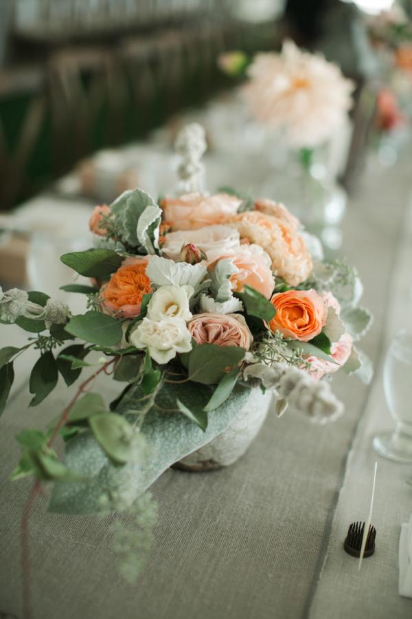 Peach Flower and Dusty Miller Centerpiece