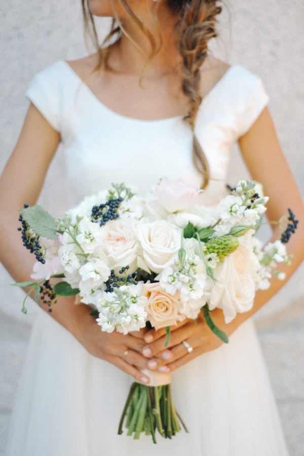 Peach Ivory Blue Bouquet