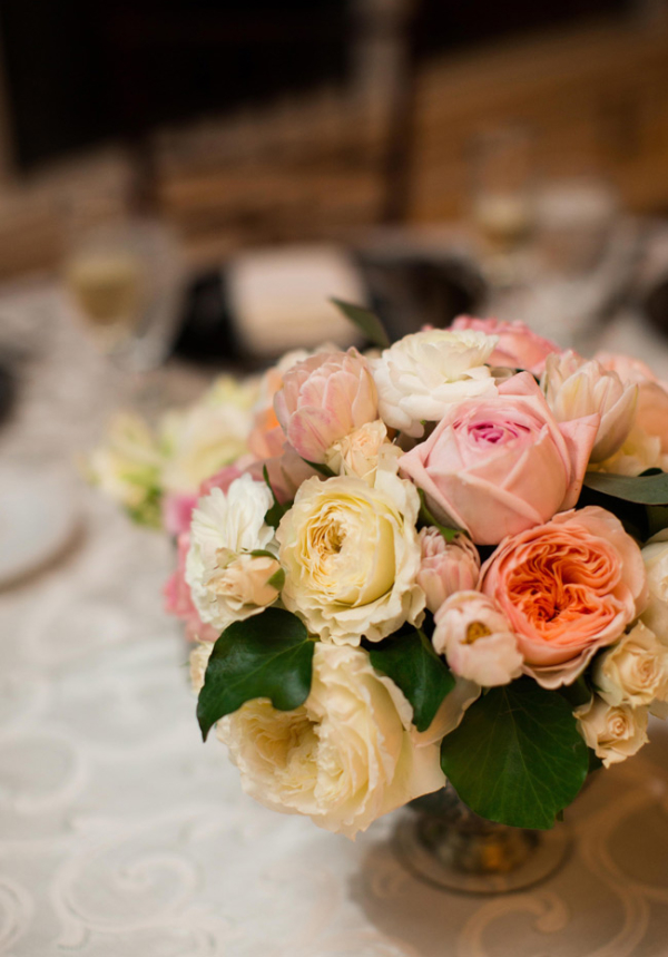 Peach Pink and Cream Floral Arrangement