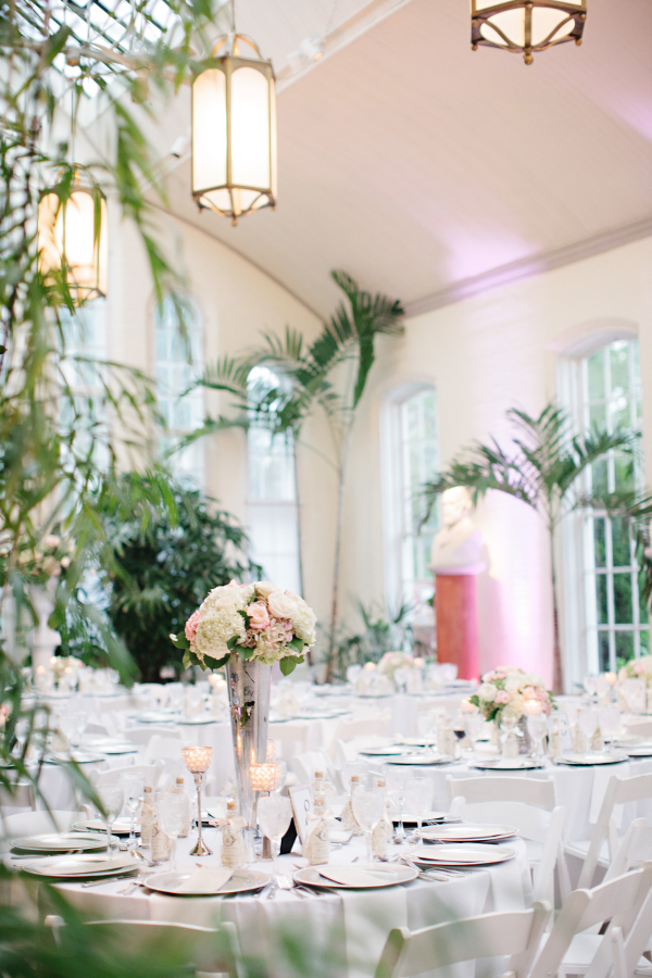 Peach and Palm Reception Decor