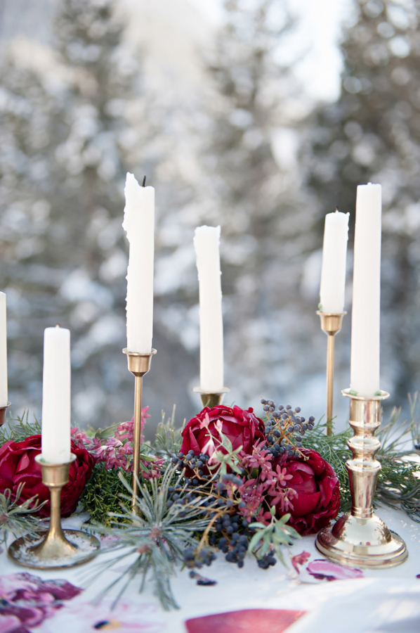 Pine Needle and Red Floral Table Garland