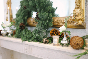 Pinecone and Greenery Mantel