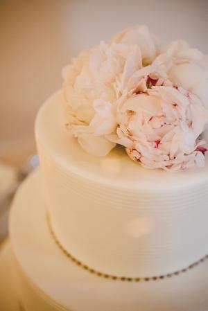 Pink Peonies on Wedding Cake
