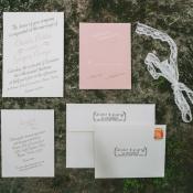 Pink and Cream Calligraphy Wedding Invitation