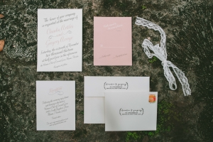 Pink and Cream Calligraphy Wedding Invitation