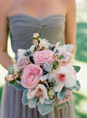 Pink and Gray Orchid and Dusty Miller Bouquet